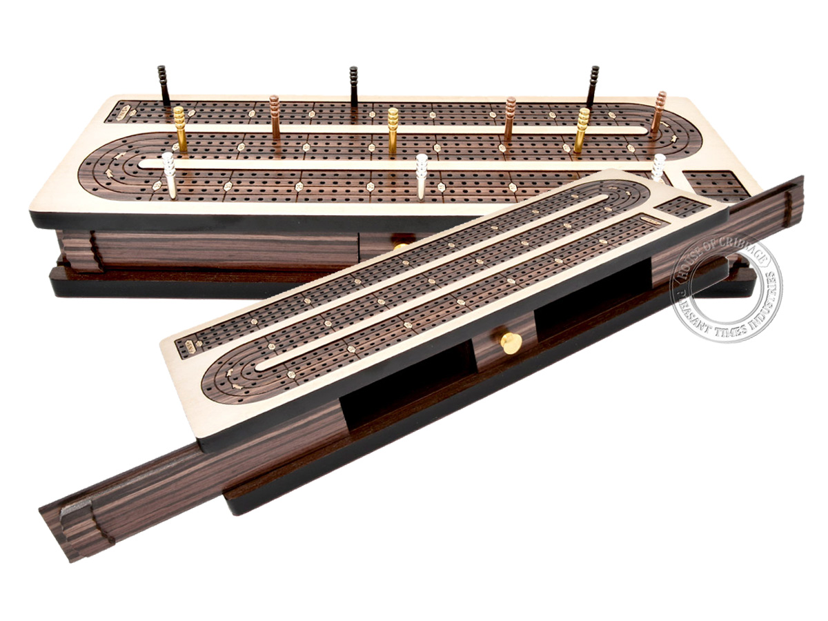 Continuous Cribbage Board Inlaid 4 Tracks Maple/Rosewood with Sliding Lids and Drawer