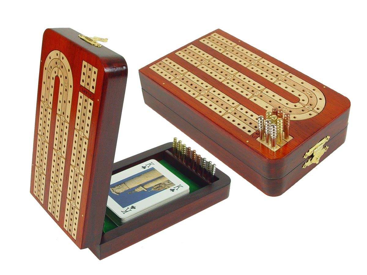 Continuous Folding Cribbage Board - 3 Tracks inlaid with Blood Wood / Maple
