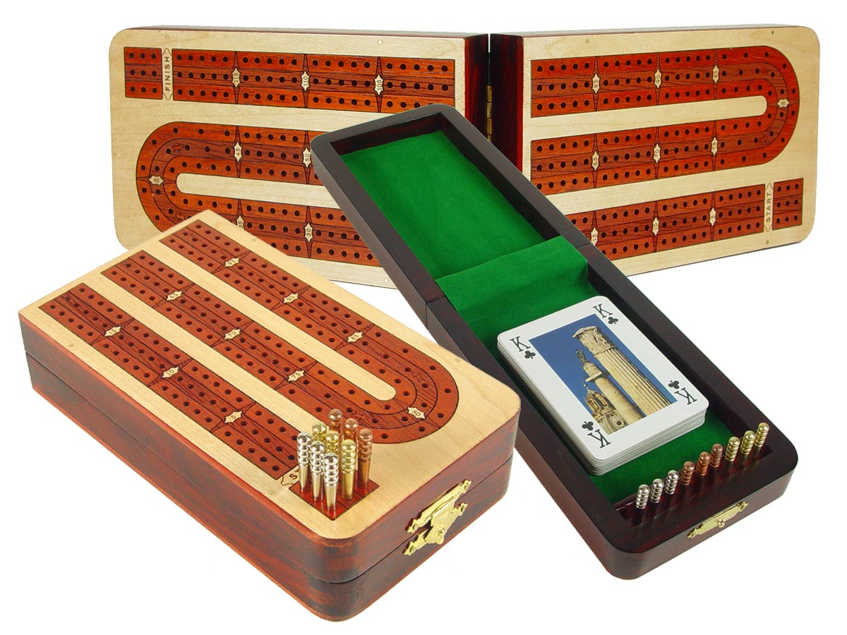 Folding Continuous 3 Tracks Cribbage Board inlaid with Maple / Bloodwood