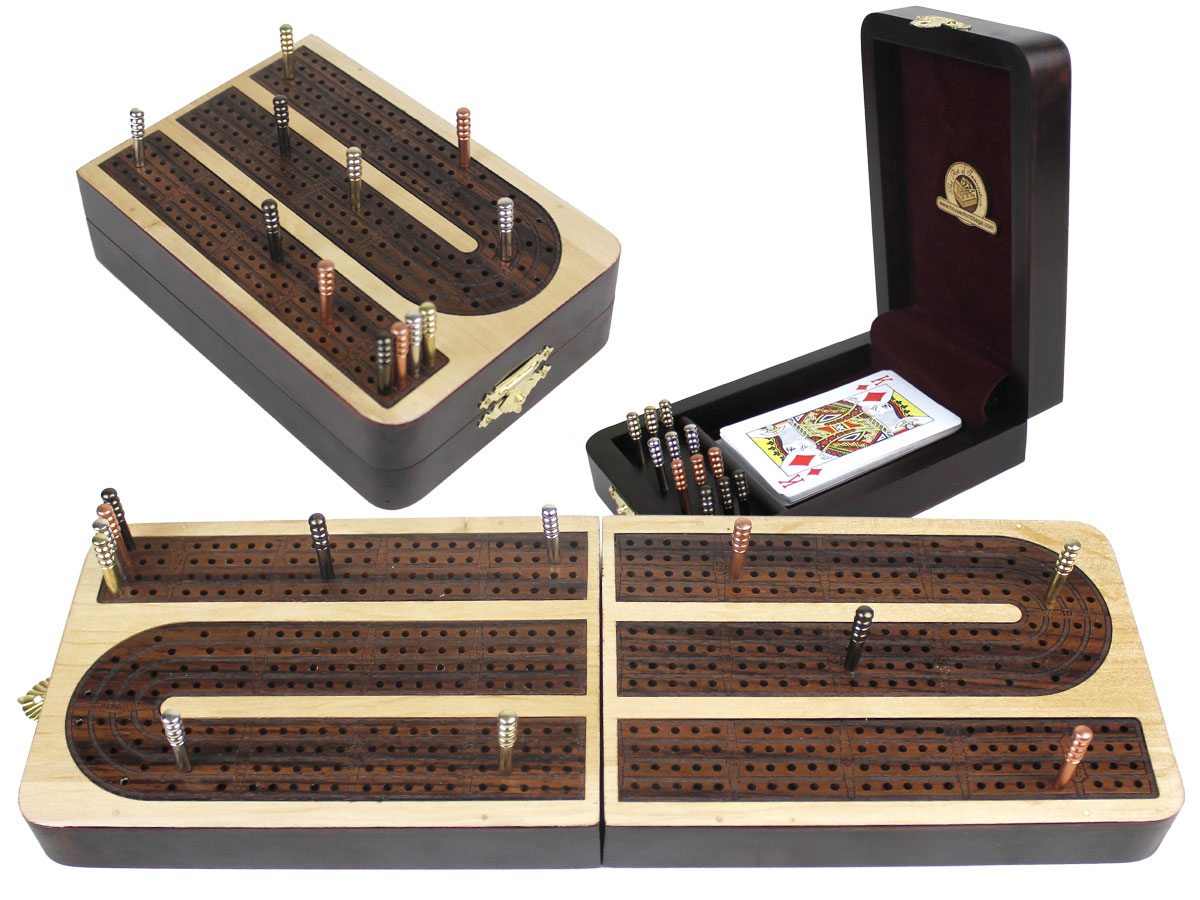 Continuous Cribbage Board Folding Box 4 Tracks Inlaid Maple/Rosewood - 12 Metal Pegs