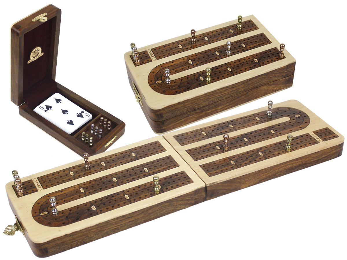 Folding Continuous 3 Tracks Cribbage Board inlaid with Maple / Golden Rosewood - 9 Metal Pegs