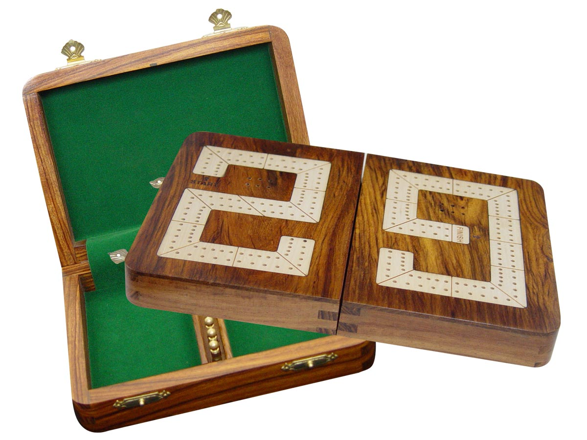 """29 Cribbage Board / Box Folding - Maple inlaid on Golden Rosewood Ground 10"""" - 2 Tracks"""