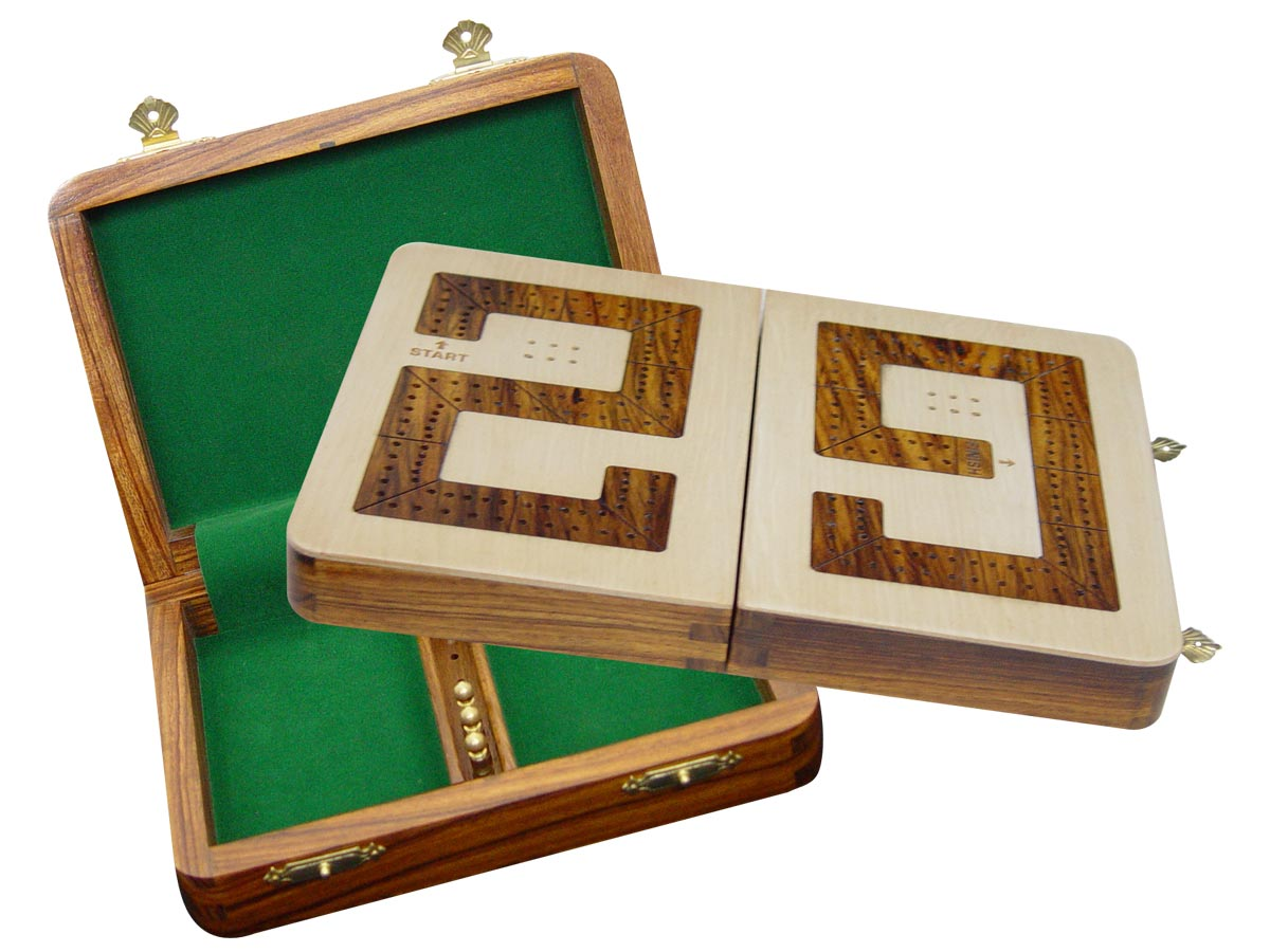 """29 Cribbage Board / Box Folding - Golden Rosewood inlaid on Maple Ground 10"""" - 2 Tracks"""