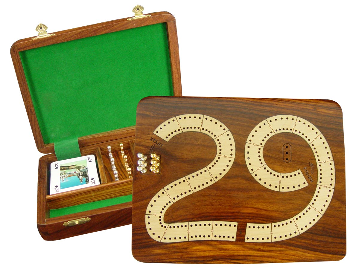 """29 Cribbage Board / Flat Box :: Maple Inlaid on Golden Rosewood Ground :: 9"""" x 7"""" :: 2 Tracks"""