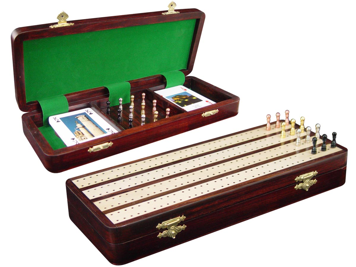 "Handmade 4 Track Wooden Cribbage Board / Box Inlaid in Rosewood / White Maple 12"" - 12 Metal Pegs"