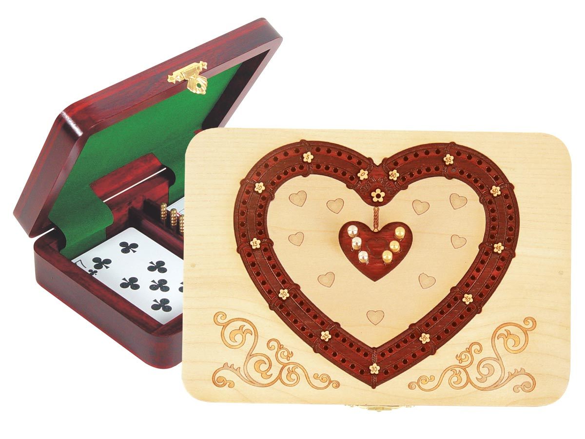Heart Shape Cribbage Board inlaid with Maple / Blood Wood - 2 Tracks