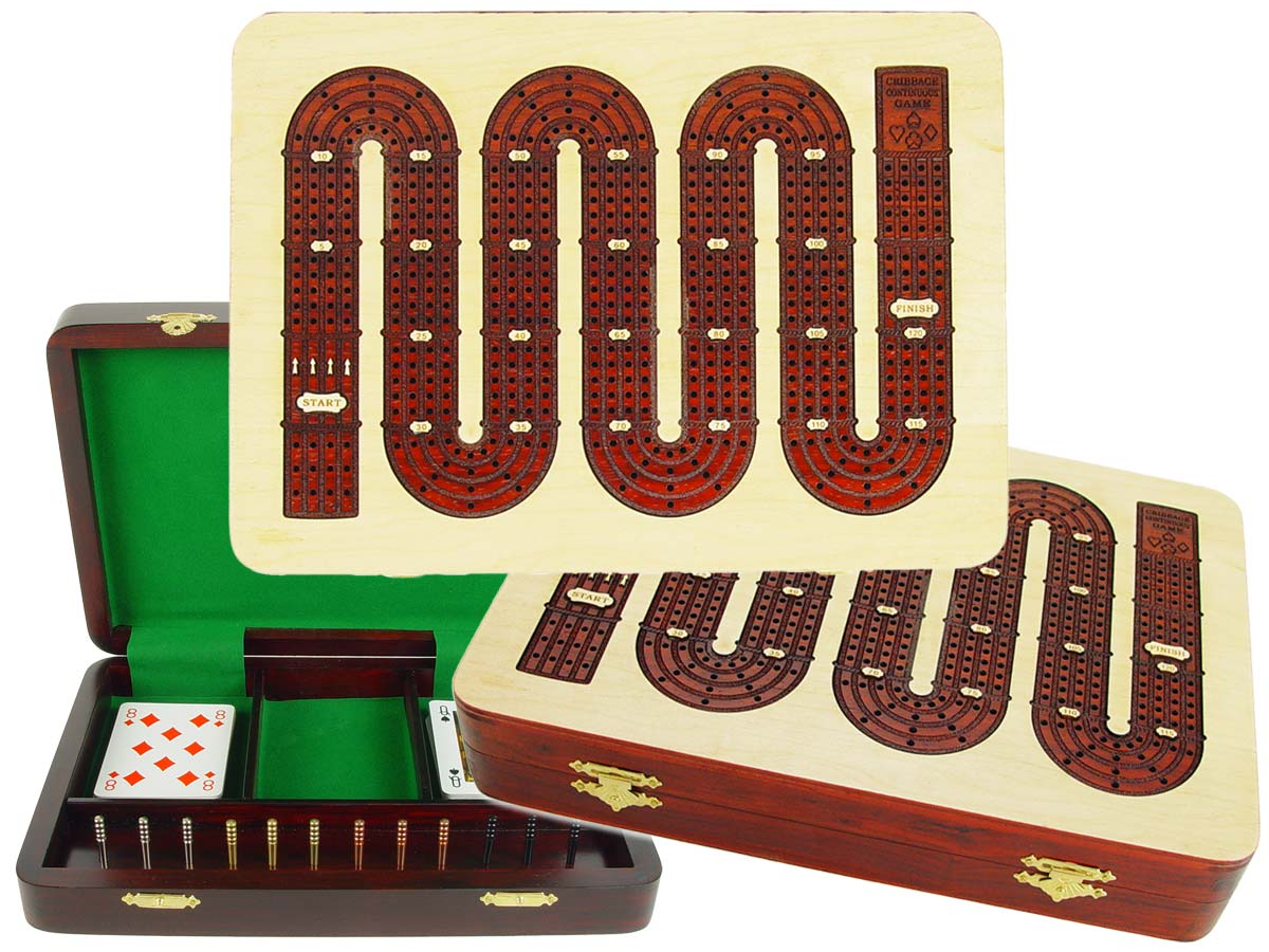 """Zig Zag Shape Continuous 4 Tracks Cribbage Board inlaid with Maple / Bloodwood :: 11"""" x 8"""""""