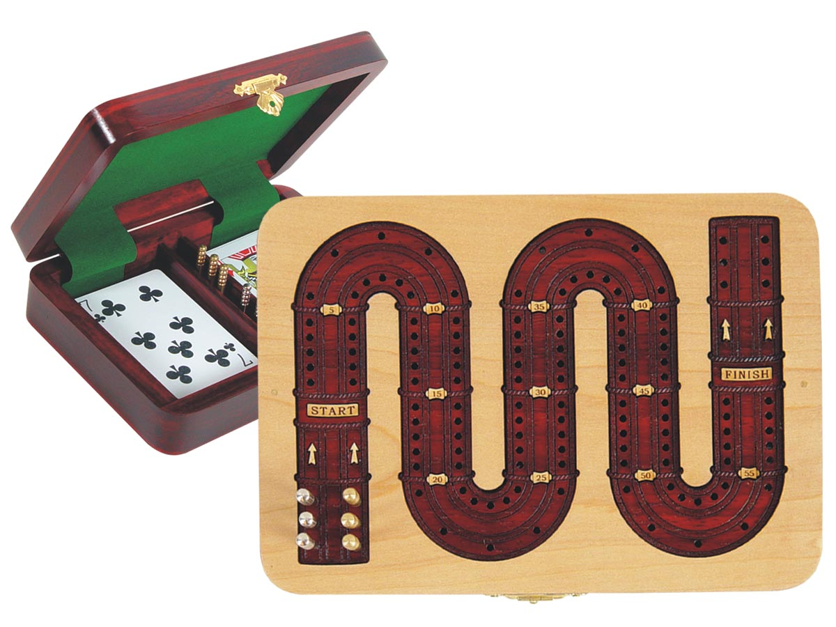 Cribbage Board Zig Zag Shape 2 Tracks inlaid with Maple / Blood Wood