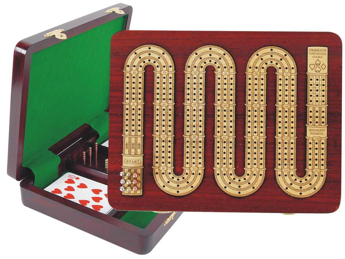 "Continuous Cribbage Board 3 Tracks (Zig Zag Shape) inlaid with Blood Wood / Maple :: 9"" x 7"""