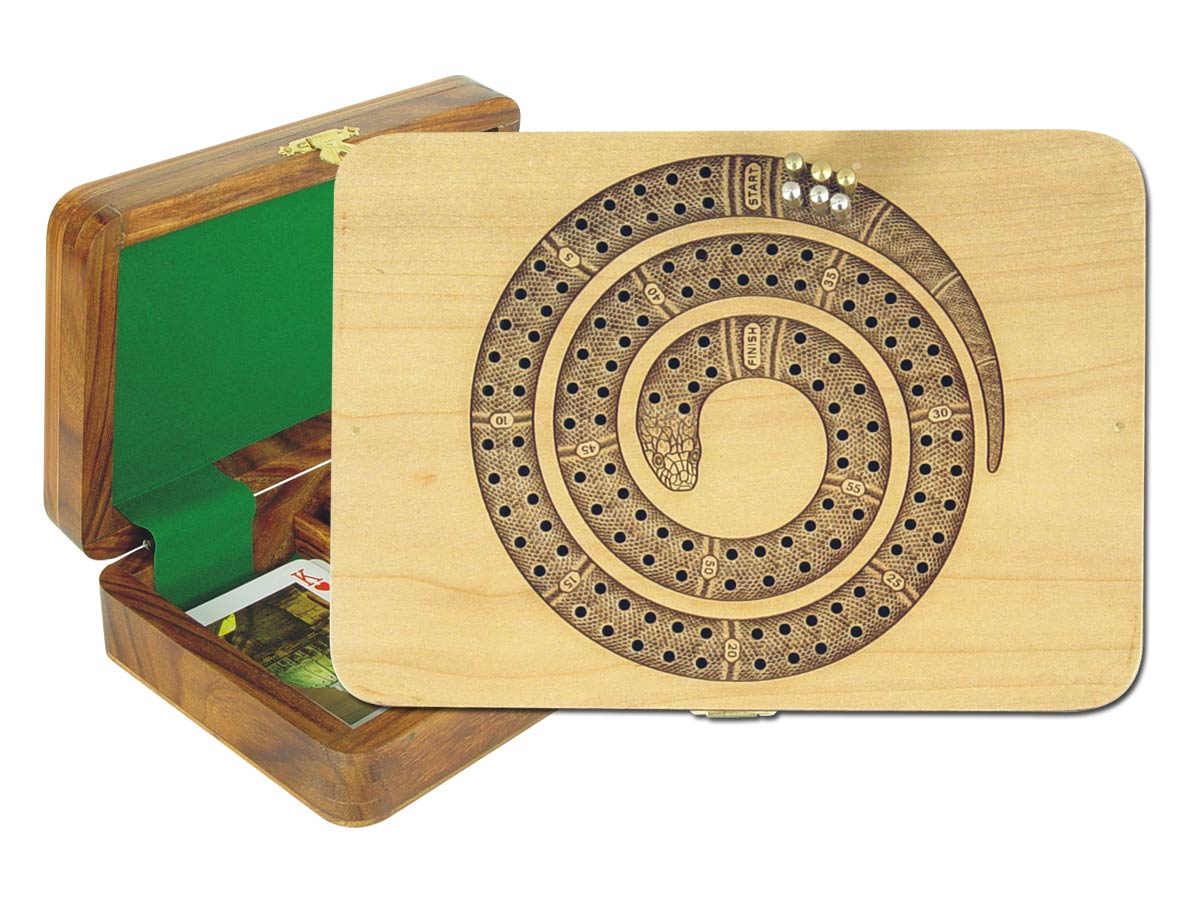 Cribbage Board Snake Shape 2 Tracks inlaid with Maple on Maple top Golden Rosewood Floor
