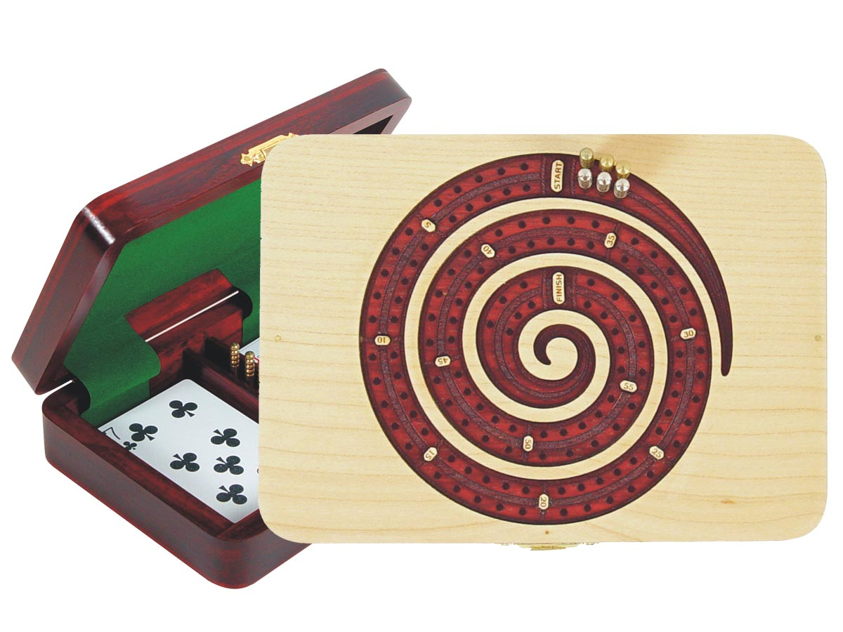 Wooden Spiral Shape Cribbage Board inlaid with Maple / Bloodwood - 2 Tracks