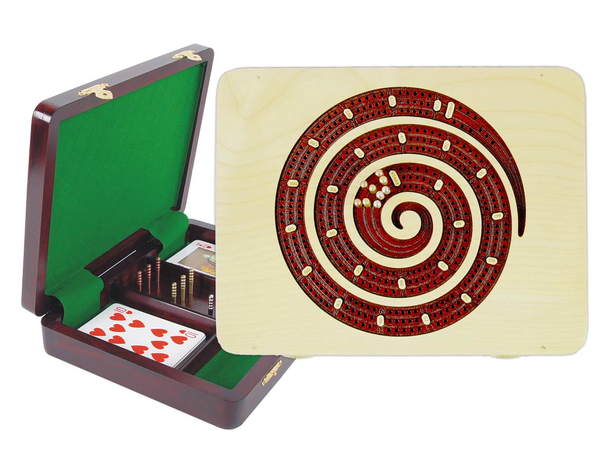 "Cribbage Board Spiral Shape Continuous - 3 Tracks inlaid with Maple / Bloodwood :: 9"" x 7"""