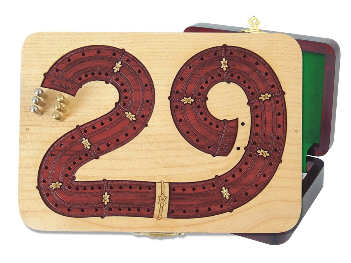 29 Cribbage Board inlaid in Maple / Bloodwood - 2 Tracks