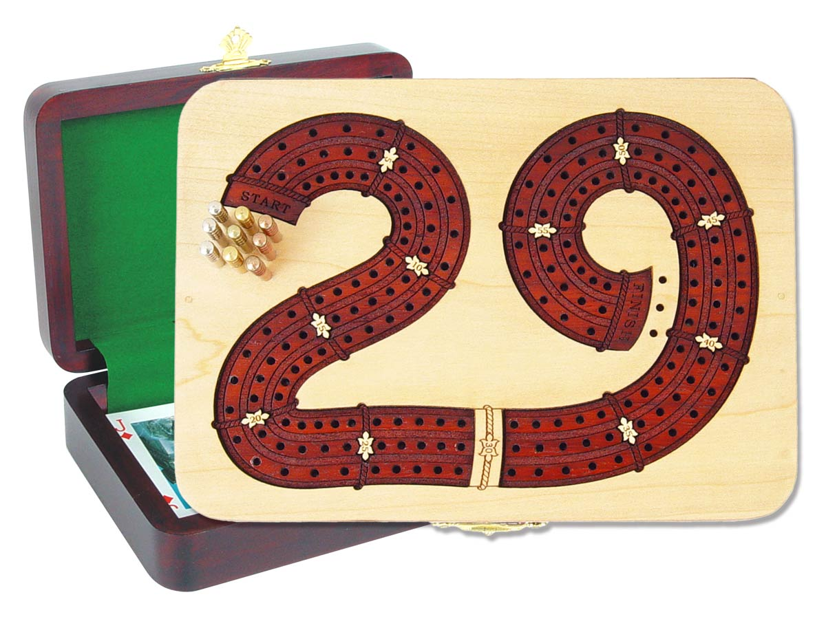 """29 Cribbage Board inlaid with Maple / Bloodwood : 3 Tracks :: 7"""" x 5"""""""