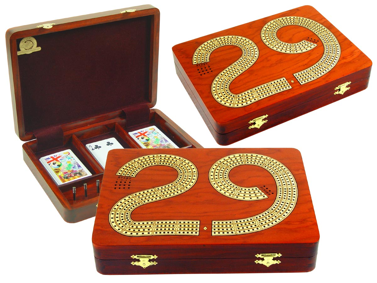 "29 Cribbage Board Box Continuous 4 Track inlaid with Bloodwood / Maple :: 11"" x 8"""