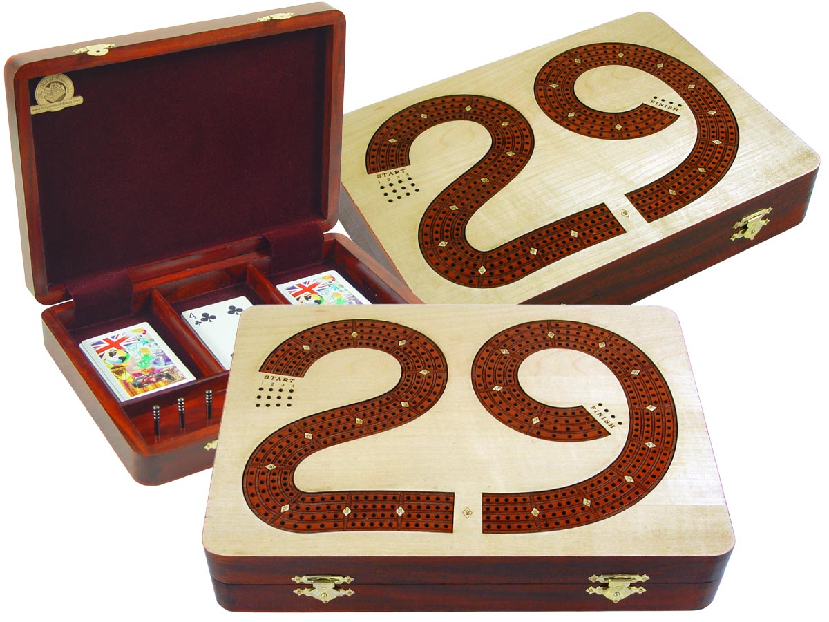 """29 Cribbage Board Box Continuous 4 Track inlaid with Maple / Bloodwood :: 11"""" x 8"""""""
