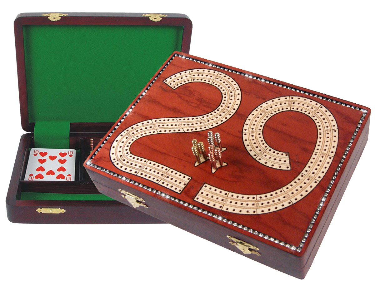 "29 Cribbage Board Studded with Crystals Similar to Diamonds on Bloodwood Box :: 9"" x 7"" :: 3 Tracks"