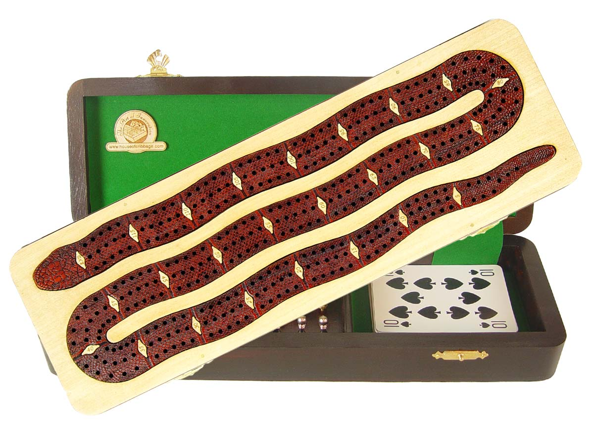 """Snake Shape Continuous Cribbage Board inlaid with Maple / Bloodwood - 3 Tracks :: 12"""""""