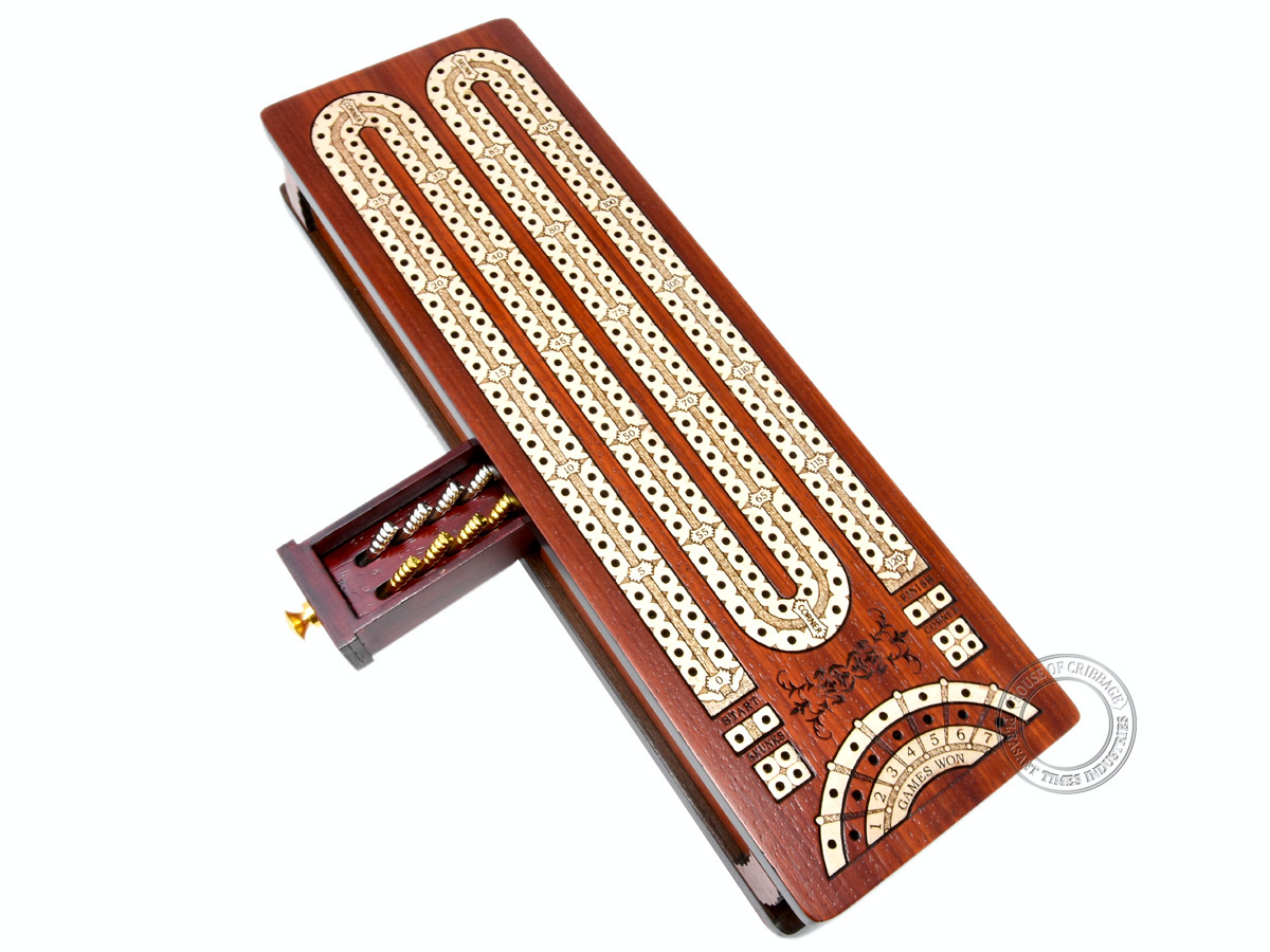 Continuous Cribbage Board / Box inlaid in Bloodwood / Maple : 2 Track - Sliding Lid with Score marking fields for Skunks, Corners and Won Games