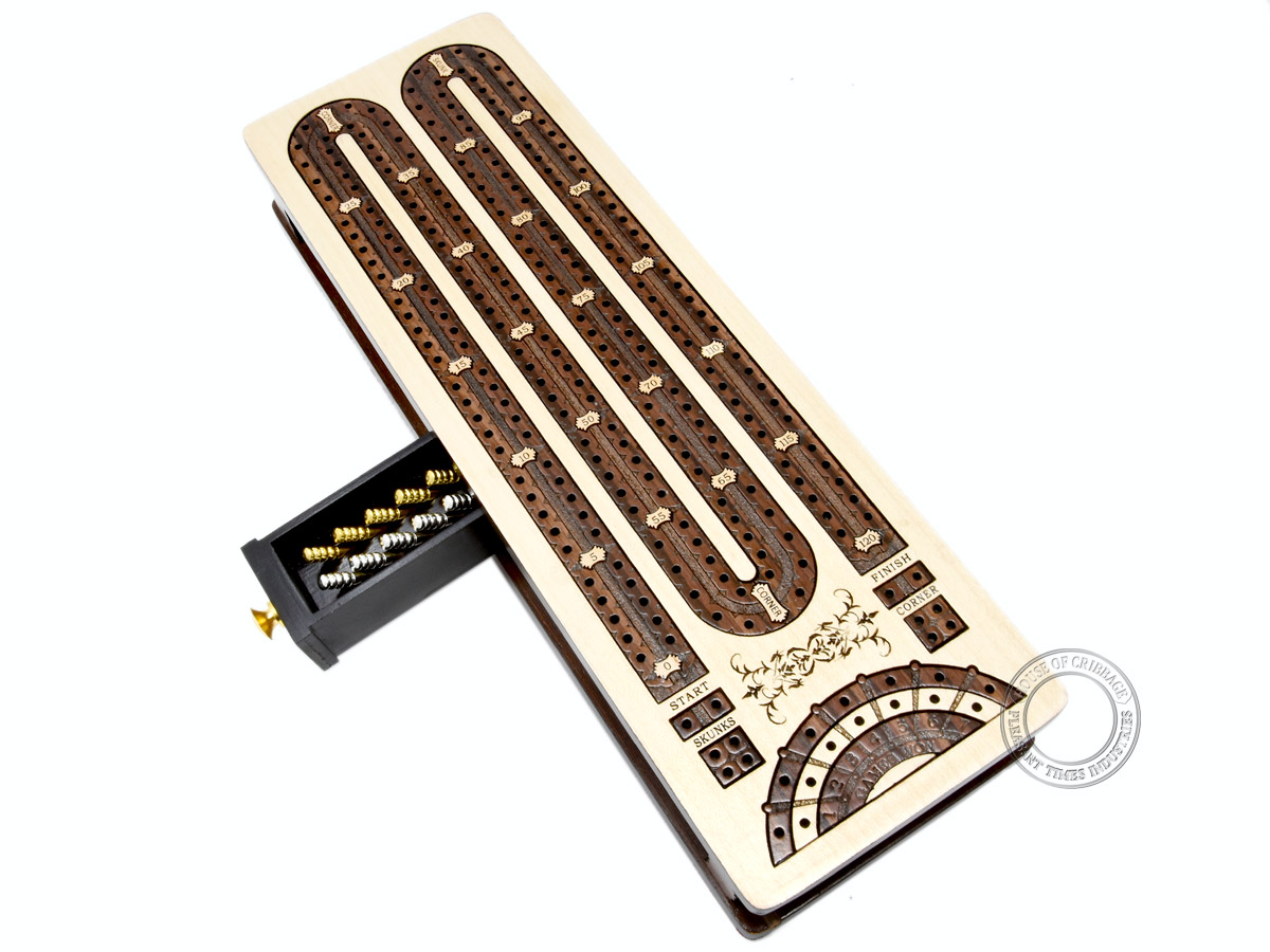Continuous Cribbage Board / Box inlaid in Maple / Rosewood : 2 Track - Sliding Lid with Score marking fields for Skunks, Corners and Won Games