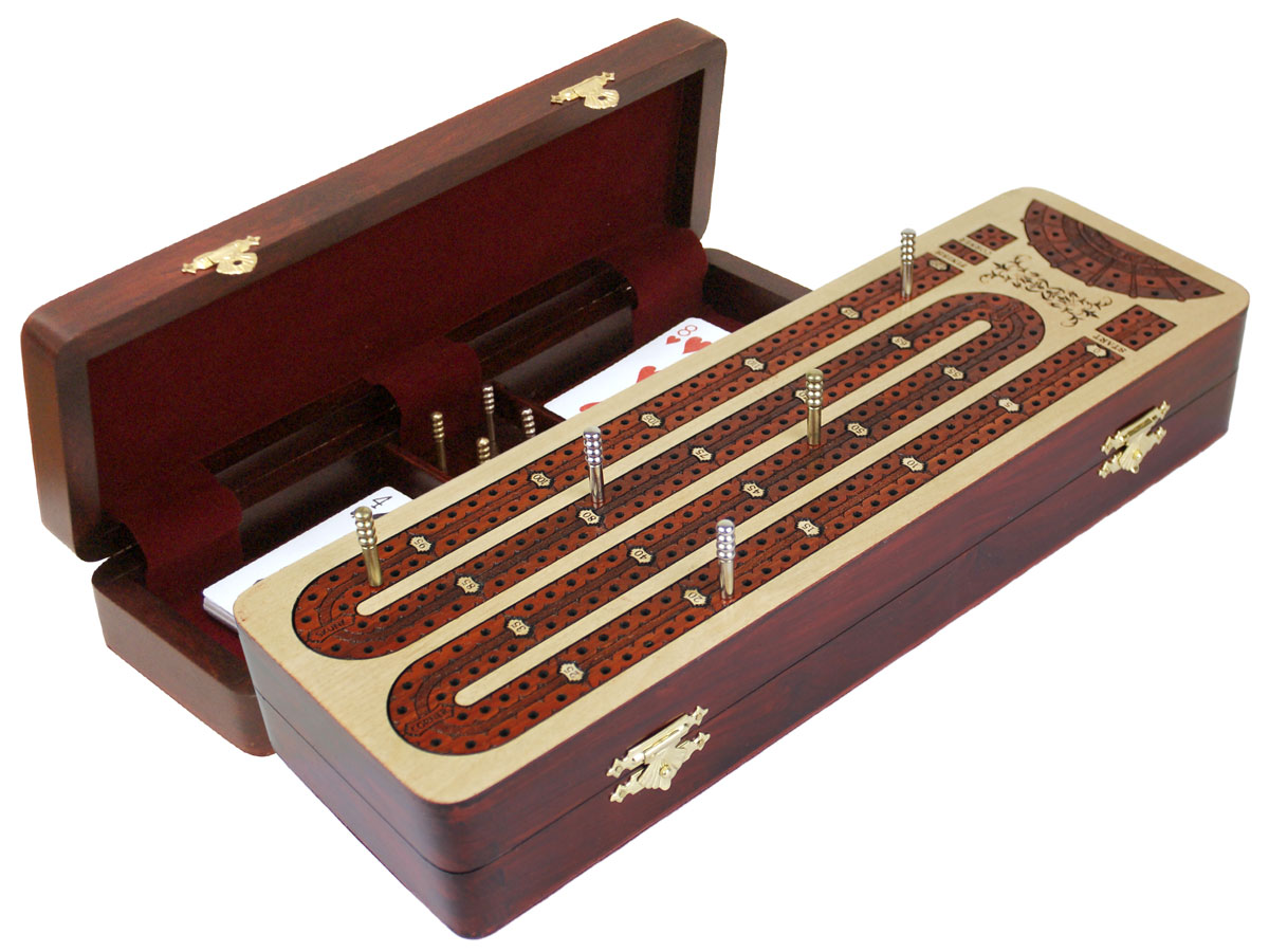 Continuous Cribbage Board Maple inlaid Bloodwood : 2 Tracks with place to mark won games