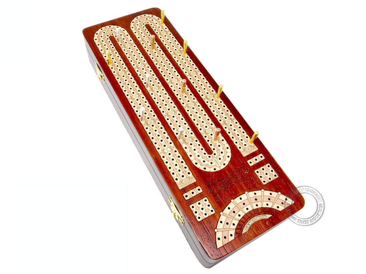 Continuous Cribbage Board / Box inlaid with Bloodwood / Maple : 3 Tracks with place to mark won games
