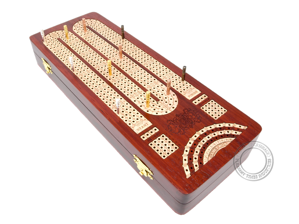 Continuous Cribbage Board / Box inlaid with Bloodwood / Maple : 4 Tracks with place to mark won games