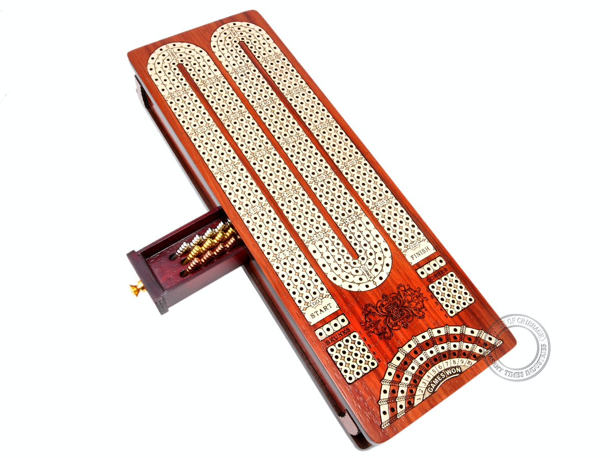 Continuous Cribbage Board / Box inlaid in Bloodwood / Maple : 4 Track - Sliding Lid with Score marking fields for Skunks, Corners and Won Games