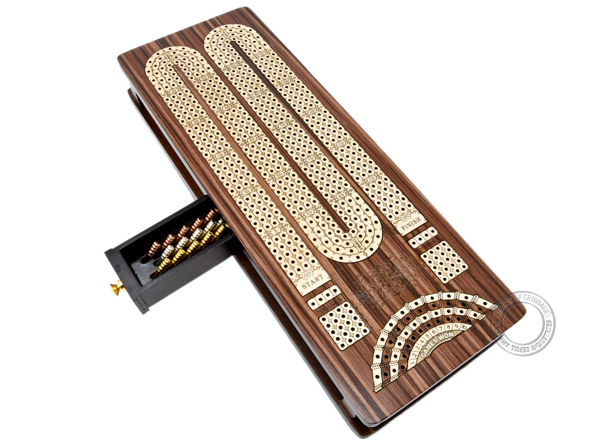 Continuous Cribbage Board / Box inlaid in Rosewood / Maple : 4 Track - Sliding Lid with Score marking fields for Skunks, Corners and Won Games