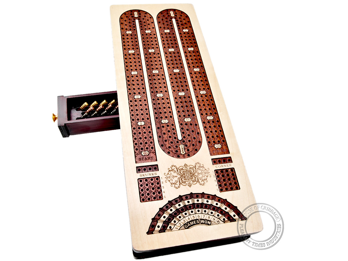 Continuous Cribbage Board / Box inlaid in Maple/ Bloodwood : 4 Track - Sliding Lid with Score marking fields for Skunks, Corners and Won Games
