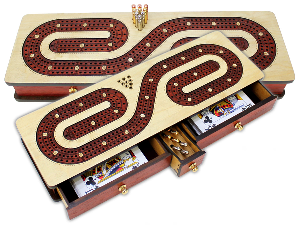 Continuous Cribbage Board inlaid with Maple/Bloodwood : Alphabet S Shape Inlaid 3 Tracks with Drawer Storage