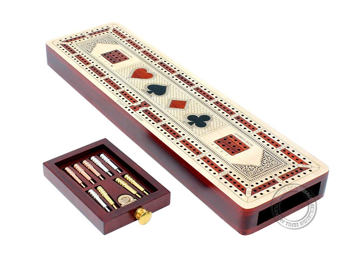 3 Track Continuous Cribbage Board inlaid in Maple and Bloodwood - Inlaid Card Symbols (Suits) + Storage Drawer for Cribbage Pegs