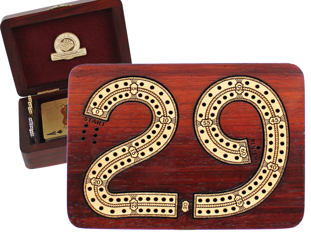29 Folding Cribbage Board/Box Inlaid 2 Tracks in Bloodwood/Maple 60 Points