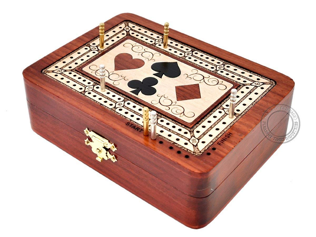 Playing Cards Wood Inlaid Symbols Folding Cribbage Board/Box Inlaid 2 Tracks in Bloodwood/Maple 60 Points