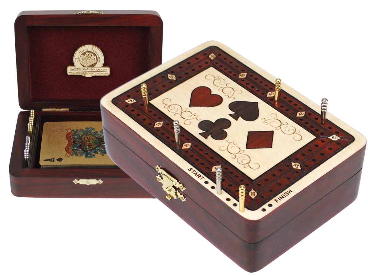 Playing Cards Wood Inlaid Symbols Folding Cribbage Board/Box Inlaid 2 Tracks in Maple/Bloodwood 60 Points