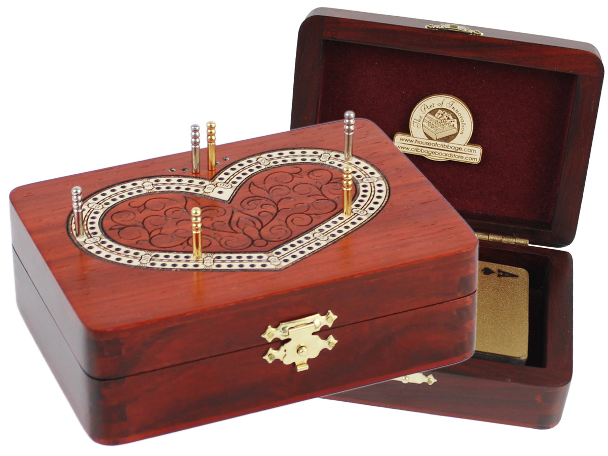 Heart Shape Folding Cribbage Board/Box Inlaid 2 Tracks in Bloodwood/Maple 60 Points