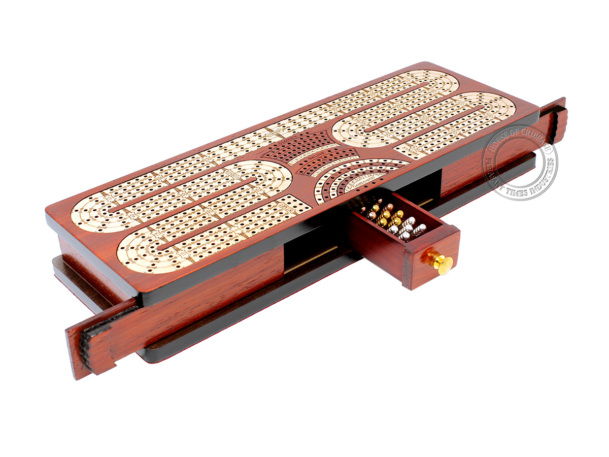Continuous Cribbage Board Twist Design 4 Tracks - Sliding Lid and Drawer with Skunks, Corners and Score Marking Fields - Bloodwood / Maple