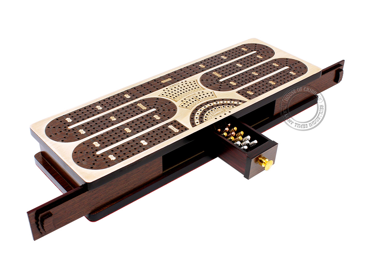Continuous Cribbage Board Twist Design 4 Tracks - Sliding Lid and Drawer with Skunks, Corners and Score Marking Fields - Maple / Wenge Wood