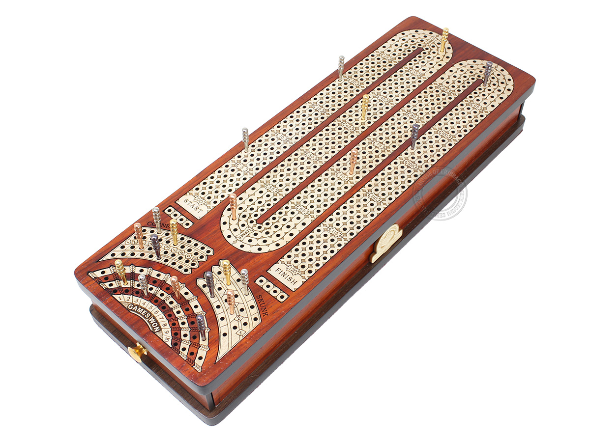 Continuous Cribbage Board Alphabet M Shape 4 Tracks - 2 Side Drawers with Skunks, Corners and Score Marking Fields - Blood Wood / White Maple