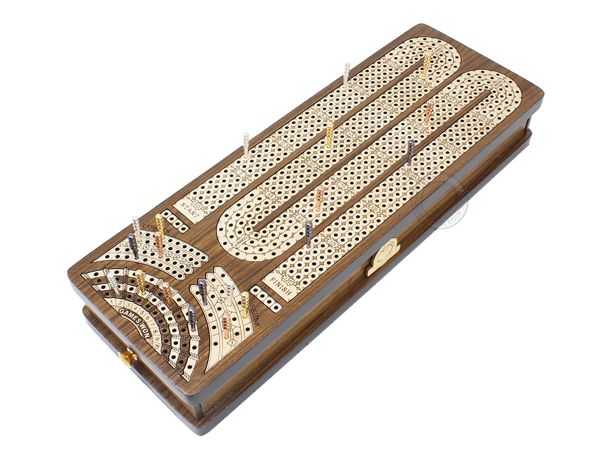 Continuous Cribbage Board Alphabet M Shape 4 Tracks - 2 Side Drawers with Skunks, Corners and Score Marking Fields - Teak Wood / White Maple