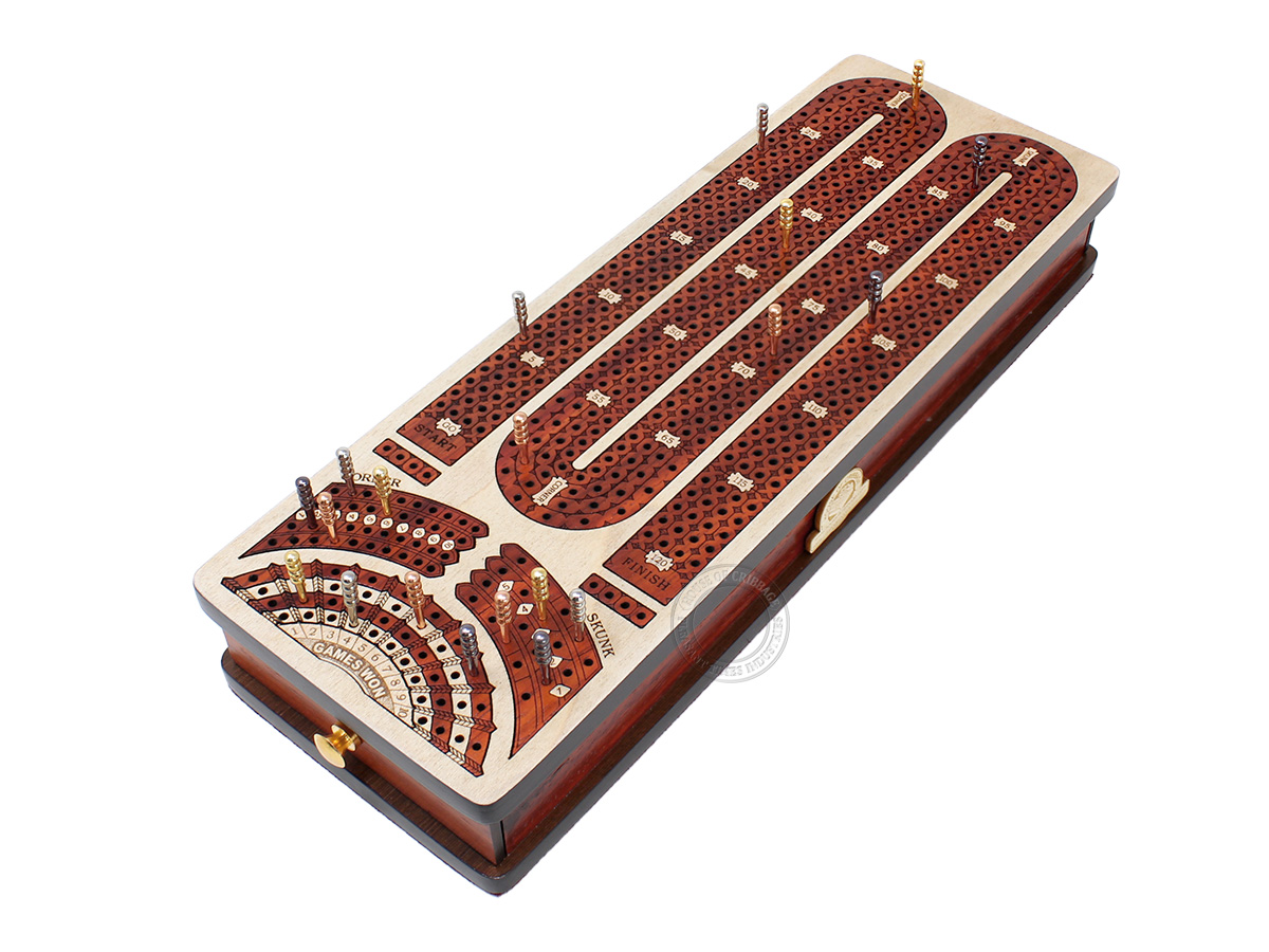 Continuous Cribbage Board Alphabet M Shape 4 Tracks - 2 Side Drawers with Skunks, Corners and Score Marking Fields - White Maple / Blood Wood