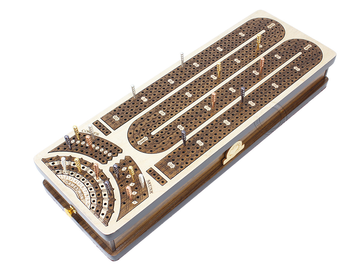 Continuous Cribbage Board Alphabet M Shape 4 Tracks - 2 Side Drawers with Skunks, Corners and Score Marking Fields - White Maple / Teak Wood