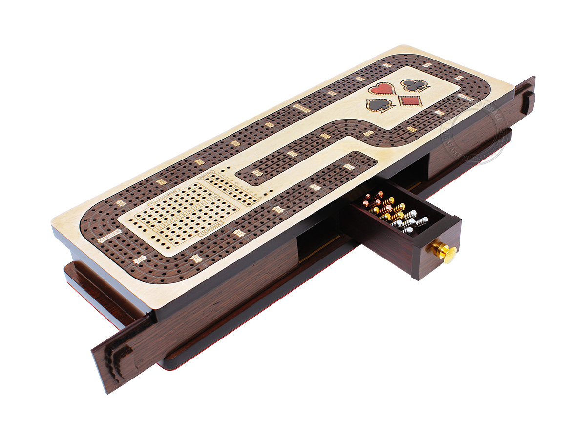 Continuous Cribbage Board Hook Design 4 Tracks - Sliding Lid and Drawer with Skunks, Corners and Score Marking Fields - Maple / Wenge Wood