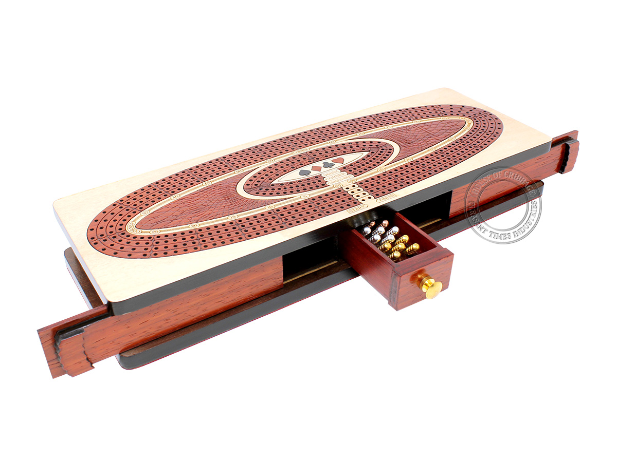 Continuous Cribbage Board Oval Shape 4 Tracks - Sliding Lid and Drawer with Skunks, Corners and Score Marking Fields - Maple / Bloodwood