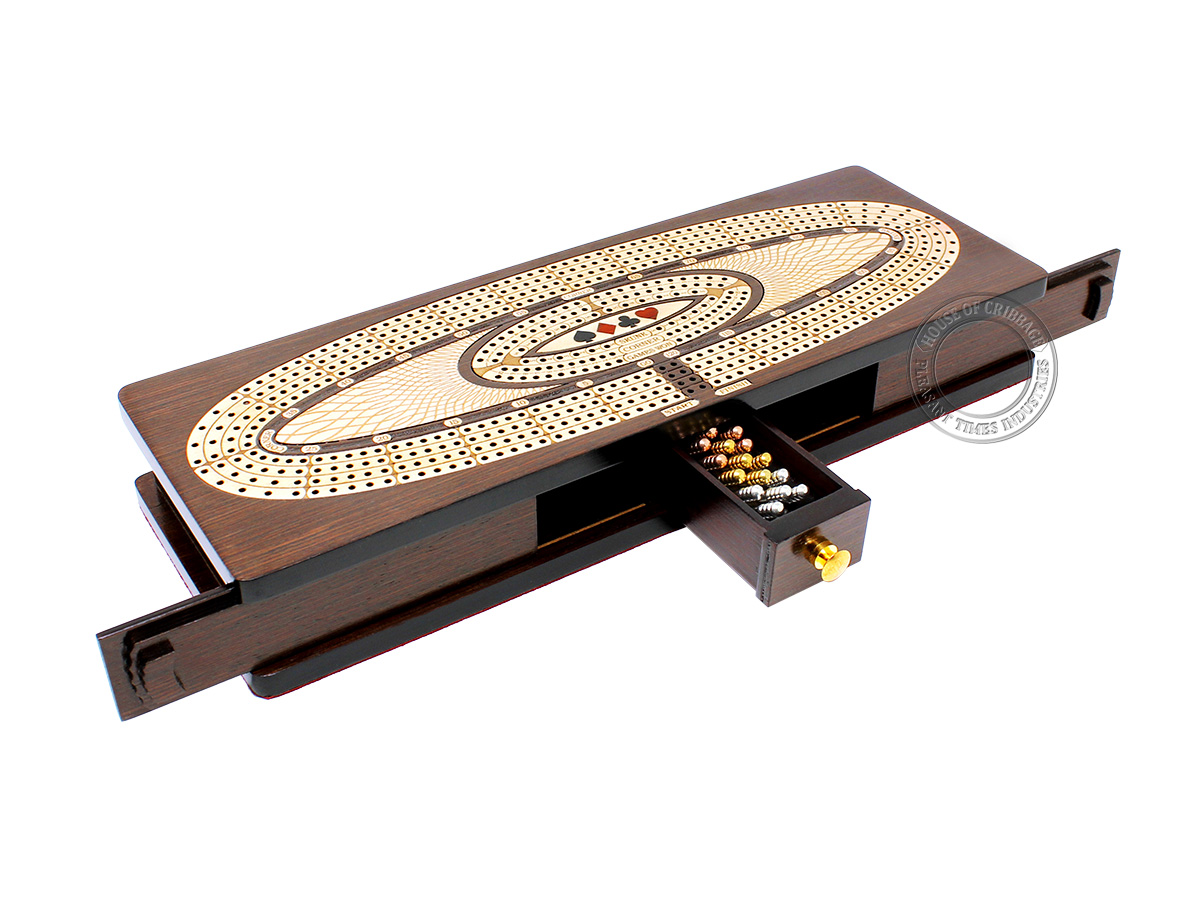 Continuous Cribbage Board Oval Shape 4 Tracks - Sliding Lid and Drawer with Skunks, Corners and Score Marking Fields - Wenge Wood / Maple