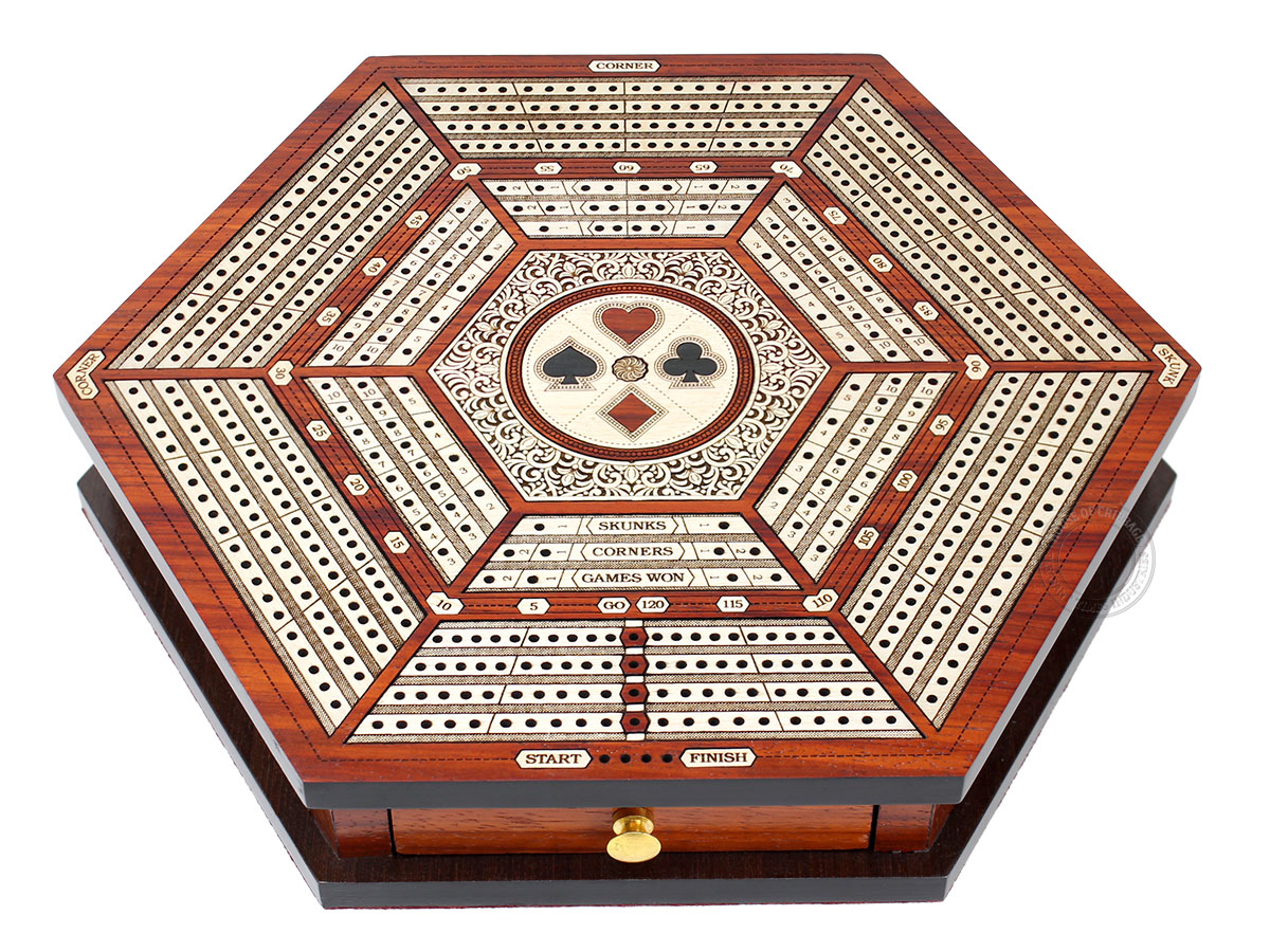 Hexagonal Cribbage Board Continuous 4 Tracks with Drawer Storage and Skunks, Corners and Score Marking Fields - Blood Wood / White Maple