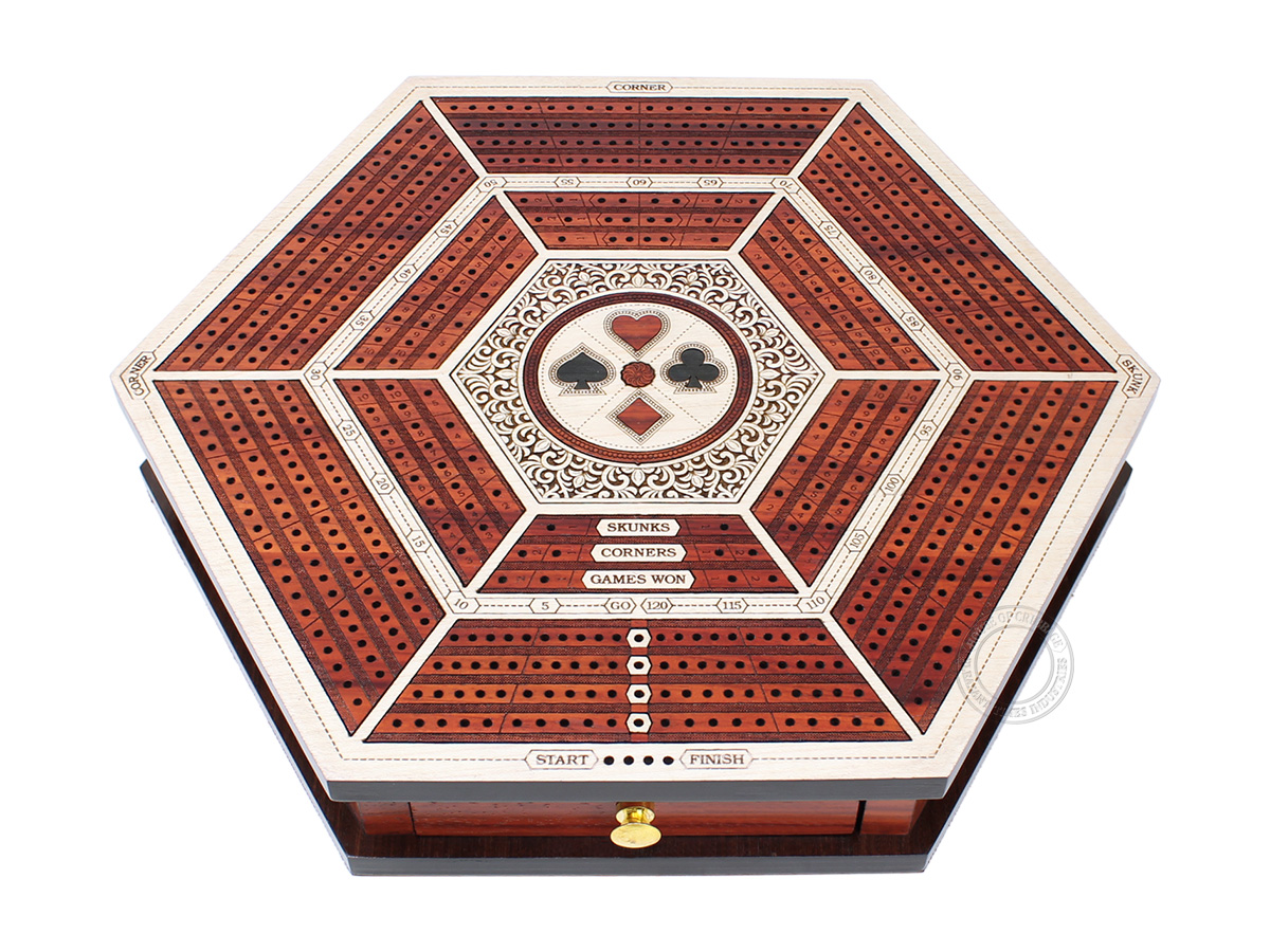 Hexagonal Cribbage Board Continuous 4 Tracks with Drawer Storage and Skunks, Corners and Score Marking Fields - White Maple / Blood Wood