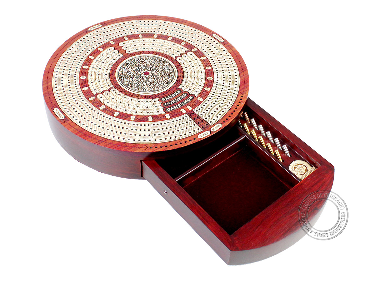 Round Shape 4 Tracks Continuous Cribbage Board Bloodwood / Maple with Push Drawer & place for Skunks, Corners & Won Games