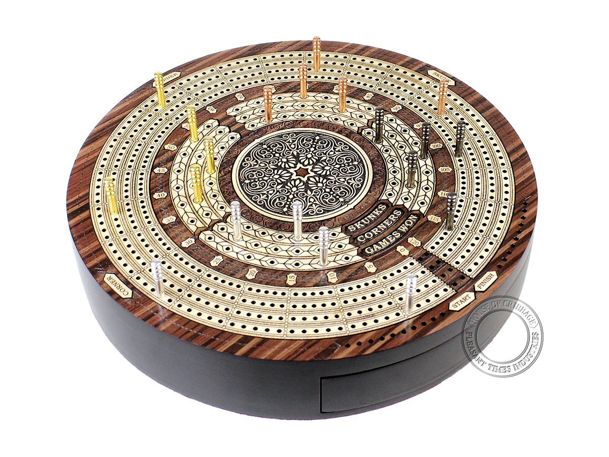 Round Shape 4 Tracks Continuous Cribbage Board Rosewood / Maple with Push Drawer & place for Skunks, Corners & Won Games