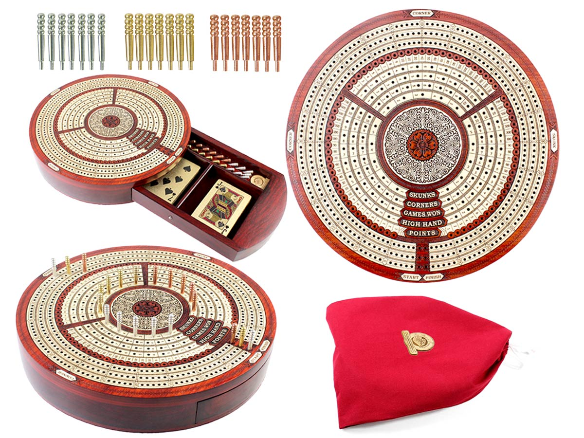 """10"""" Round Shape 3 Tracks Continuous Cribbage Board and box in Bloodwood / Maple with Score marking fields for Skunks, Corners, Won Games, High Hand and Points"""
